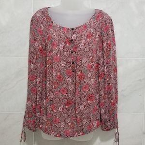 Lucky Brand Boho Floral Drawstring Sleeve Rust Lg